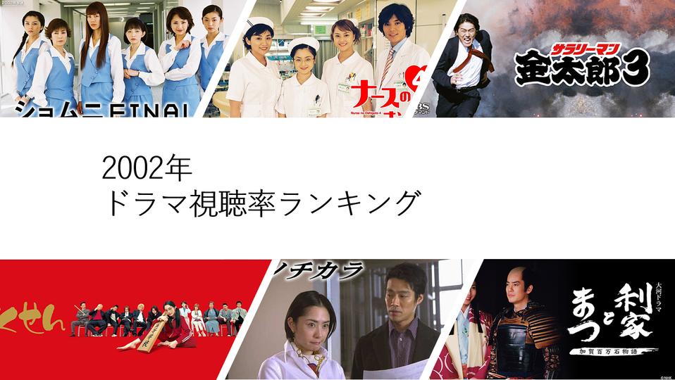 2002年放送ドラマ視聴率ランキング【平均視聴率順】 vodzoo